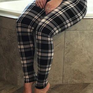 79a0a145f8e Pants - Buttery Soft Black White Plaid Leggings Plus Size